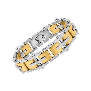 Men's Stainless Steel Two Tone Riveted Bracelet